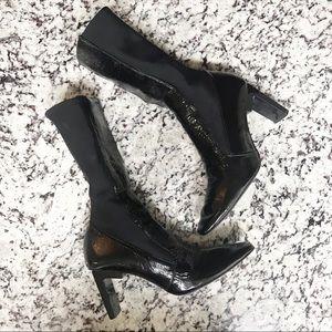 Zara Rectangle Heel Sock Leather Suede Bootie